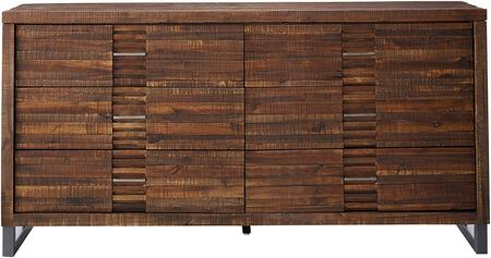 Andria Collection 21295 68 inch  Dresser with 6 Drawers  Nickel Metal Legs  Metal Hardware and Acacia Wood Construction in Reclaimed Oak