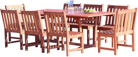 V232SET36 Malibu Outdoor 9-Piece Wood Patio Dining Set With Extension