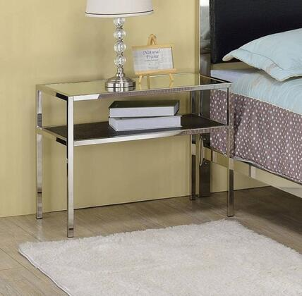 Johanna Collection 25097 26 inch  Nightstand with Bottom Shelf and Metal Frame in Nickel