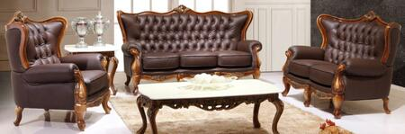 995ESPRESSOS3SET Traditional 3 Piece Living Room Set with Sofa  Loveseat and Chair in Espresso with Natural Walnut