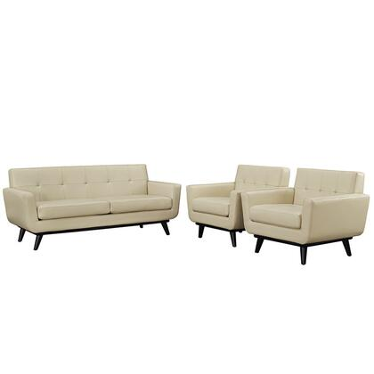 EEI-1762-BEI-SET Engage 3 Piece Leather Living Room Set  in