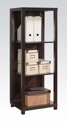 92064 Carmeno Bookcase with 3 Shelves  MDF Wrapping Profile and Wooden Frame in Espresso