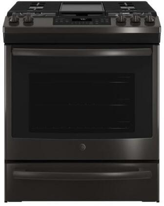 GE JGS760BELTS 30 Inch Slide-in Gas Range with Sealed Burner Cooktop in Black Stainless Steel