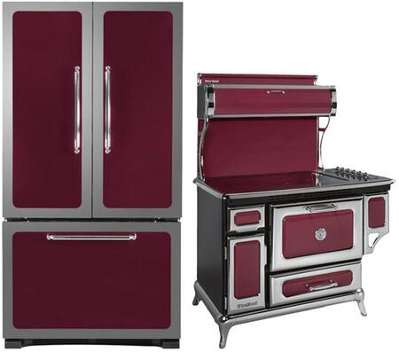 3-Piece Cranberry Kitchen Package with 301500RCRN 30 inch  Bottom Freezer Refrigerator  6210CD0CRN 48 inch  Freestanding Electric Range  and HCDWI1CRN 24 inch  Fully