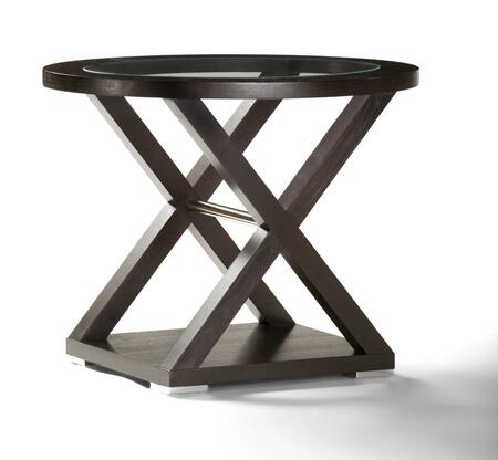 3410-02 Halifax Oval Glass Top End Table in Espresso Finish With Brushed Stainless Steel