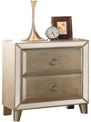 Voeville Collection 21003 28 inch  Nightstand with 2 Drawers  Mirror Inlay  Silver Iron Metal Hardware  Pine Wood and Oak Veneer Materials in Antique Gold