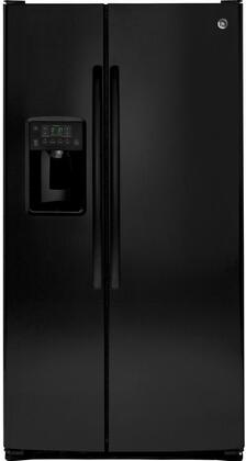 GE 25.4 Cu. Ft. Side-by-Side Refrigerator High-Gloss Black GSS25GGHBB