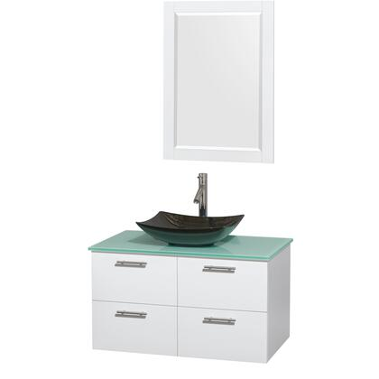 Wcr410036sgwgggs4m24 36 In. Single Bathroom Vanity In Glossy White  Green Glass Countertop  Arista Black Granite Sink  And 24 In.