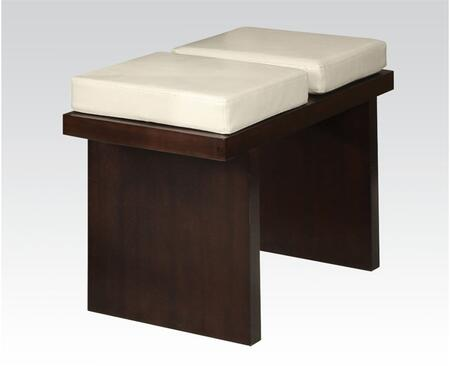 Keelin Collection 71044 24 inch  Bench with Beige Bycast PU Leather Upholstery and Wood Frame Construction in Espresso
