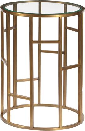 DS-D051028 Geometric Brass Accent Table with Glass Top  Abstract Ladder Style Design and Iron Construction in Brass
