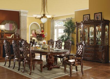 Vendome Collection 60000CHCB 8 PC Dining Room Set with Extendable Dining Table  4 PU Leather Upholstered Side Chairs  2 PU Leather Upholstered Arm Chairs and