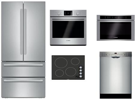 5 Piece Stainless Steel Kitchen Package with B21CL81SNS 36 inch  French Door Refrigerator  NEM5466UC 24 inch  Electric Smooth Cooktop  HBL5351UC 30 inch  Single Wall Oven