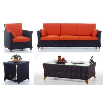 PR90-SET-O 4-Piece Patio Set with Sofa  Arm Chair  Coffee Table and Side Table in