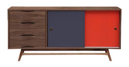 STO-SB-COLORPOP-WAL Color Pop Mid-Century Modern Sideboard Credenza  Walnut/Orange/Charcoal