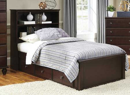 Carolina Craftsman Collection 527740-3-529400-528330 Full Size Storage Bed with Bookcase Headboard  3 Storage Drawers and Wood Rails with Slats in