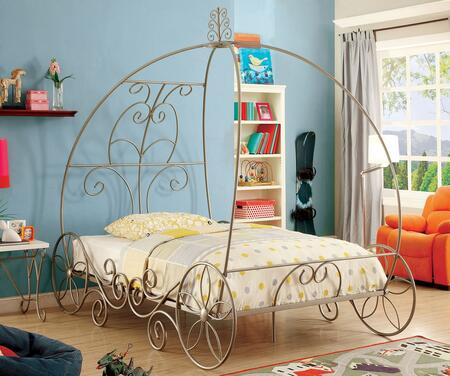 Enchant Collection CM7705CPN-T Twin Size Bed with Princess Carriage Design  Floral Accents On Wheel Base and Meticulously Carved Headboard in Champagne