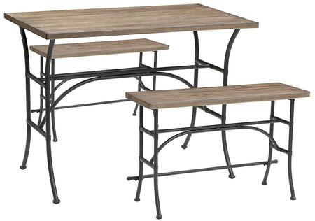 Domingo Collection 71660 3 PC Counter Height Dining Set with Smooth Rectangular Wood Top  Wooden Bench Seats and Metal Construction in Oak and Antique Black