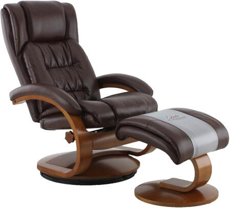 Oslo Collection 51-99-103 19 inch  Narvick Recliner and Ottoman with Swivel Function  Memory Foam Seating  Lumbar Support and Air Leather Upholstery in Whisky