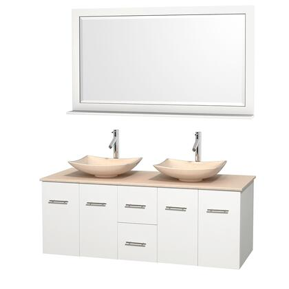 Wcvw00960dwhivgs5m58 60 In. Double Bathroom Vanity In White  Ivory Marble Countertop  Arista Ivory Marble Sinks  And 58 In.