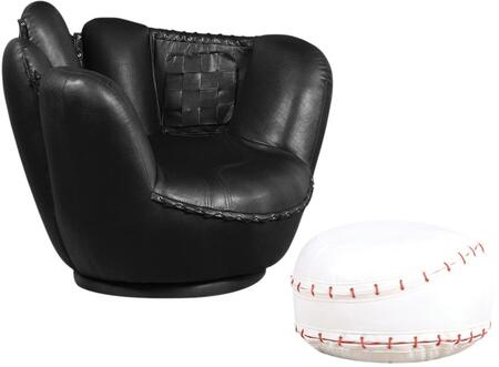 All Star Collection 05522 Youth Baseball Chair and Ottoman Set with Swivel Motion  Glove Design  Red Stitching  Woven and Mitered Pocket Details in