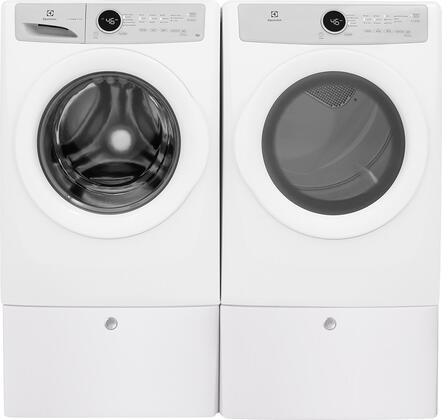 White Front Load Laundry Pair with EFLW317TIW 27 inch  Washer  EFDE317TIW 27 inch  Electric Dryer and 2 EPWD157SIW