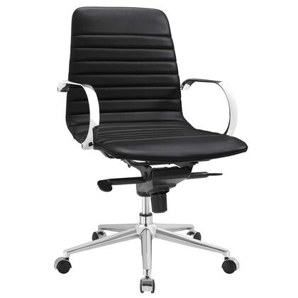Groove Collection EEI-2859-BLK Office Chair with Swivel Seat  Adjustable Height  Ergonomic Ribbed Sling Back Design  Tension Control Knob  Chrome-Plated