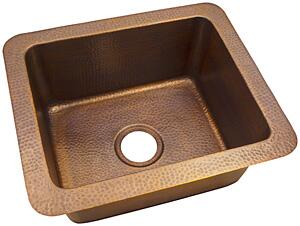CF162AN Solid Hand Hammered Copper 18 inch  X 12 inch  Single Bowl Drop-In / Undermount Sink in Antique Copper