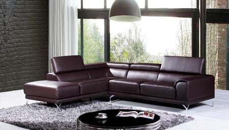 VGKNK8214-TOP-BRN-LAF Divani Casa Wisteria Sectional Sofa with Adjustable Headrests  Chrome Plated Metal Legs and Top Grain Leather/Leather Split Upholstery in