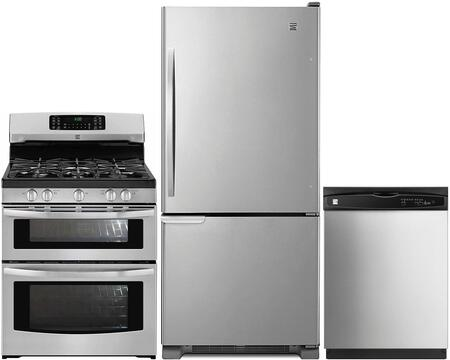 4-Piece Stainless Steel Kitchen Package with 69313 Bottom Freezer Refrigerator  78043 Freestanding Double Oven Gas Range  80323 Over-the-Range
