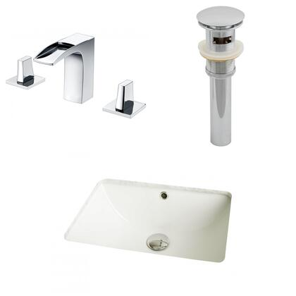 AI-13095 18.25-in. Width x 13.5-in. Diameter CUPC Rectangle Undermount Sink Set In Biscuit With 8-in. o.c. CUPC Faucet And