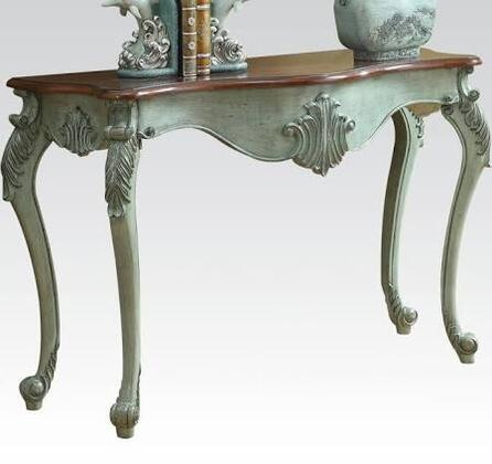 Blade Collection 90128 47 inch  Console Table with Carved Apron  Brown Wood Top  Cabriole Legs and Wood Construction in Antique Light Blue