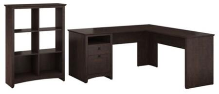 Buena Vista MY13830-03-65 2-Piece Desk Set with L-Shaped Desk and 6 Cube Bookcase in Madison Cherry