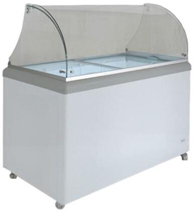 MXDC8 Ice Cream Dipping Cabinet with 14 cu. ft. Capacity  Scooping Tubs  Glass Canopy  Sliding Glass Lids  Lock  LED Lighting  Adjustable Temperature  Casters