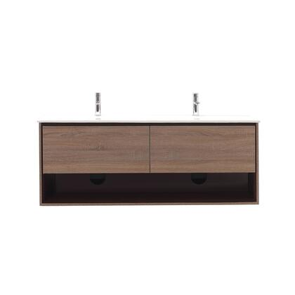 SONOMA-VS63-RK Sonoma Collection 63 Vanity Combo with Laminated Hardwood Plywood  Finger-Groove Drawer Pull  Soft Close Door  Open Shelf  Pre-Drilled Faucet