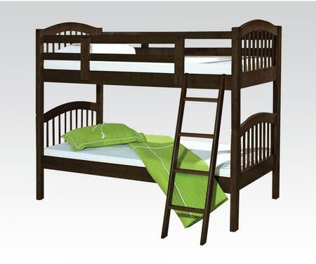 Manville Collection 37110B Twin Over Twin Size Bunk Bed with Attached Ladder  Slat System Included and Brazil Taeda Pine Wood Construction in Espresso