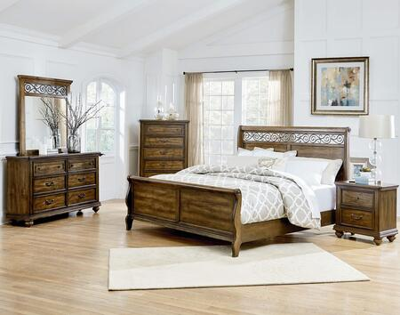 Monterey Collection 6-Piece Queen Bedroom Set with Sleigh Bed  Dresser  Mirror  2x Nightstands and Chest in Caramel