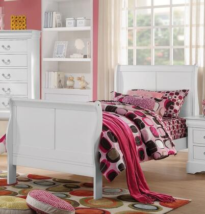 Louis Philippe Collection 23845T Twin Size Bed with Low Profile Footboard  Sleigh Headboard  Solid Pine Wood and Gum Veneer Materials in White