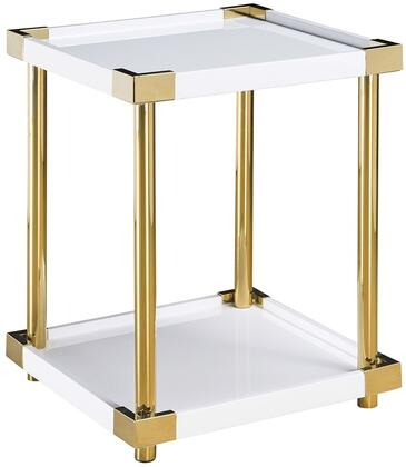 Ariene P020039 Accent Table with One Stationary Wood Shelf  Finished Posts and Corners in Modern Gold &