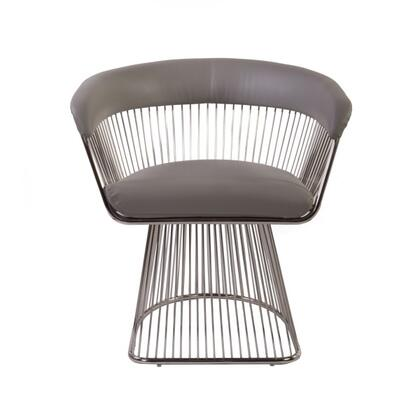 Warren FV352PLGREY Lounge Chair with Stainless Steel Frame  Stitched Detailing and Faux Leather Upholstery in Light Grey and