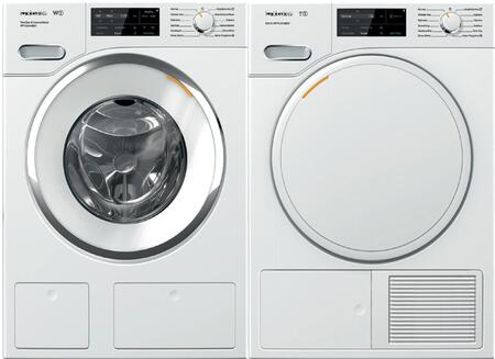 White Front Load Laundry Pair with WWH860WCS 24 inch  Front Load Washer and TWF160WP 24 inch  Electric
