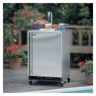 """6OHKSSFL 24"""" Outdoor Built In Beer Refrigerator with 1/6 Keg Accommodation  Tapping Equipment  Drip Tray  Floor Shield in Stainless Steel with Left Hinge"""