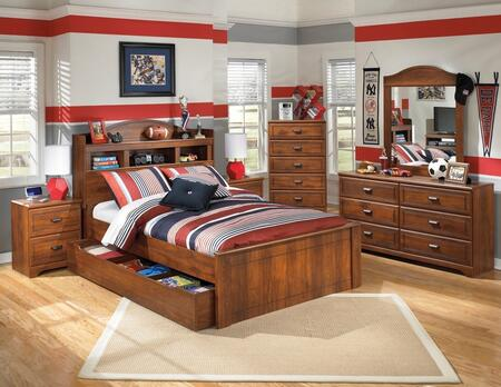 Barchan Full Bedroom Set with Bookcase Panel Bed with Trundle  Dresser  Mirror  Chest and 2 Nightstands in Warm