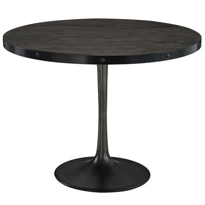 Drive Eei-1197-blk-set 29 Wood Top Dining Table With Pedestal Base And Distressed Detailing In Black
