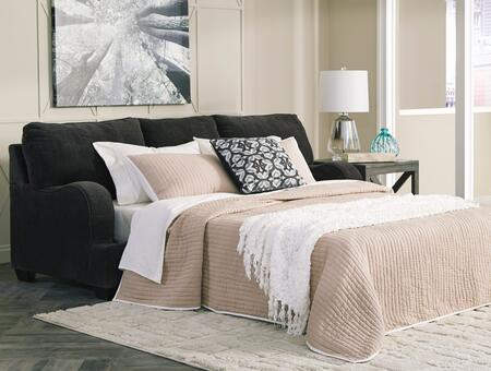 Charenton Collection 1410139 93 inch  Sleeper Sofa with Queen Size Mattress  Textured Fabric Upholstery  Piped Stitching Detail and Recessed Armrests in