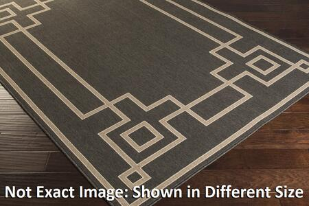Alfresco Alf9630-69 6 X 9 Rectangular 100% Polypropylene Rug With No Shedding  Easy Care  Low Pile  Loop Texture  And Machine Made In Egypt In Beige  Black