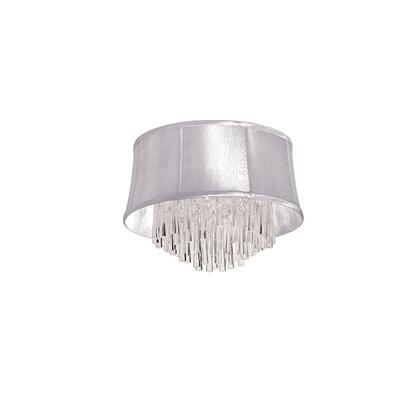JUL184FH-PC-119 4 Light Crystal Flush Mount Fixture  Polished Chrome  White Organza Bell