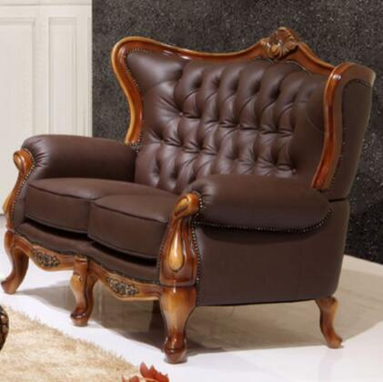 995ESPRESSOL Traditional Style Loveseat with Crown-like Design on Top   Hand Carved Wooden Frame in Matte Walnut Finish and Genuine Italian Leather Upholstery
