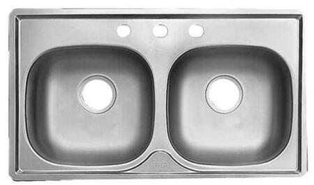MSB653N 33 inch  Double Bowl Drop-In Sink  22 Gauge Stainless Steel  Sheen Deck  Sheen Bowls  3 Faucet Holes