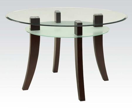 Jafar Collection 71530 48 inch  Dining Table with 8mm Clear Glass Top  Frosted Glass Shelf  Beveled Edges and Solid Poplar Wood Construction in Espresso