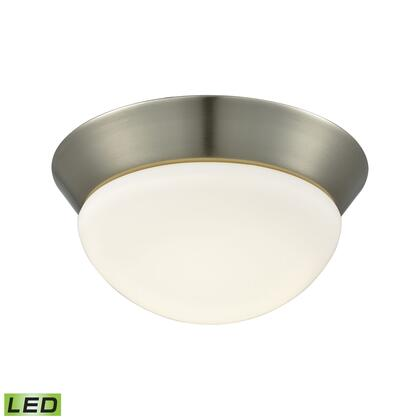 FML7125-10-16M Contours 1 Light LED Flushmount In Satin Nickel And Opal Glass -